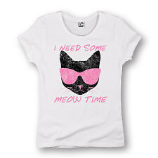 I Need Some Meow Time Funny Sunglasses Cat Lady Humor Hip Tee  - Womens T-Shirt