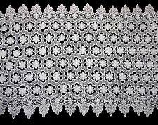 "Lily 18.5"" White Floral Guipure Venice Lace Trim Double Scalloped By Yard"
