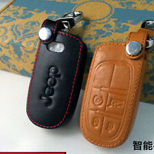 Leather Remote Key Fob Case Holder Cover Fit Jeep Cherokee Dodge Chrysler 4-BTNS