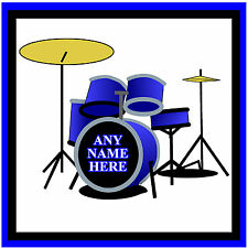 DRUMS - PERSONALISED SET OF FUN COASTERS - ANY TEXT OR NAME - GIFT/ BIRTHDAY