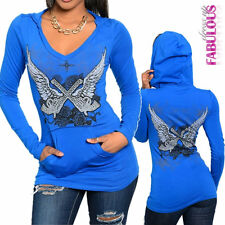 New Sexy Women's Jumper Top Hoodie Size 6-14 Tattoo Print Design V-Neck Casual