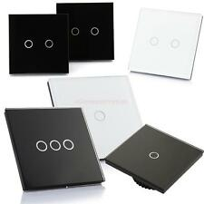US Wall Light Touch Screen Switch Crystal Glass Panel LED Backlight Black/ White