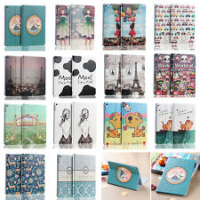 Cute Cartoon Pattern Cover PU Leather Wake Up Stand Smart Case For iPad 6 Air 2
