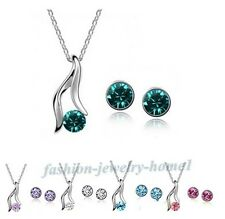 Nice Ladies Elegant Silver Plated Austrian Crystal Bridal Necklace Earrings Sets