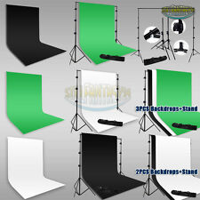 Studio 9x15Ft Black White Green Muslin Backdrop Photography Background Stand Kit