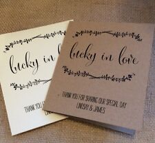 10 Vintage/Rustic Personalised Favour Lottery/Scratchcard Ticket Holders