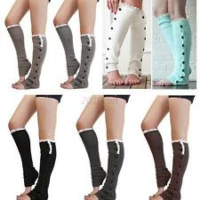 Lady Knee High Knit Flat Lace Trim Button Down Crochet Leg Warmers Boot Sock C48