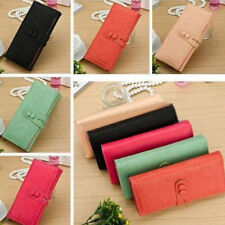 NEW Womens PU Leather Lady Long Purse Clutch Cute Button Wallet Bag Card Holder