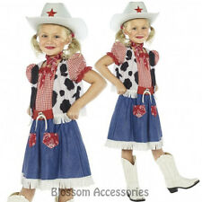 CK299 Cowgirl Sweetie Kids Girls Western Wild West Cowboy Dress Costume + Hat