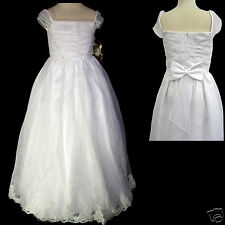 New Girl Wedding 1st Holy Communion Formal Party Dress White sz: 4 5 6 710 12 14