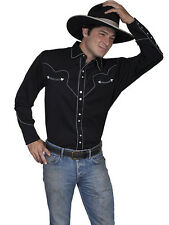 Mens Western Blend Snap Cowboy Rodeo Shirt Black