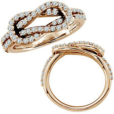 0.61 G-H Diamond Love Knot Promise Wedding Bridal Women Ring 14K Rose Gold