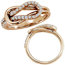 0.33 G-H Diamond Love Knot Promise Anniversary Bridal Women Ring 14K Rose Gold