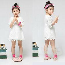 New Baby Girls Lace Pink White Dress Party 3/4 Sleeve Kids Toddler Dress
