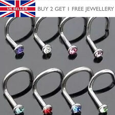 Surgical Steel Small Gem Crystal Screw Nose Stud - Choose Colour - UK SELLER