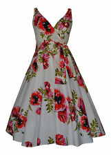 VINTAGE RETRO 50's STYLE COTTON POPPY FULL CIRCLE DRESS PARTY BRIDESMAID 10-28