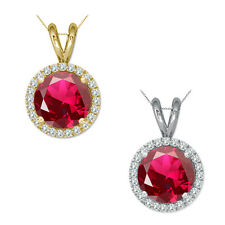 "6mm Round CZ Ruby Birth Gem Stone Silver Halo Pendant Necklace 18"" Chian"