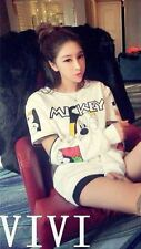 Women Mickey cartoon letters printed loose brushed dress Free Shipping
