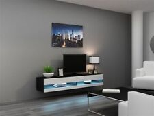 MODERN GLOSSY NEW TV STAND ENTERTAINMENT UNIT WALL MOUNTED BLACK WHITE LED