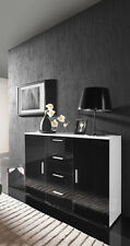 MODERN HIGH GLOSS SIDEBOARD TV STAND CABINET DRAWERS WHITE BLACK ENTERTAINME
