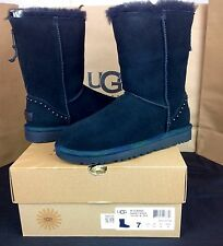 UGG AUSTRALIA CLASSIC SHORT ROCK BLACK SUEDE SHEEPSKIN BOOTS SIZE 7,8,9 US