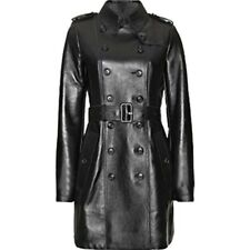 Sexy Ladies Real Black Nappa Sheep Leather Steampunk Goth Style Trench Coat -T10
