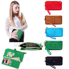 Womens Faux Leather Purse Zipper Clutch Wristlet Wallet Card Coin Holder Pouch