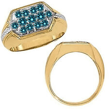 1 Carat Blue Diamond Fancy Cluster Mens Ring 14K White Yellow Two Tone Gold