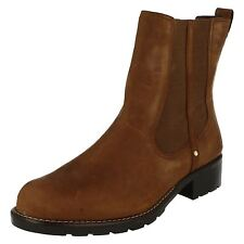 Ladies Clarks Orinoco Club Brown Leather Ankle Boots E FIT Wide Width