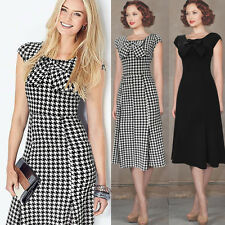 Womens Vintage Houndstooth Bow Casual Party Evening Mermaid Shift Dress 366