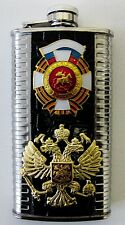 Russian Hip Vodka/Whisky Flask with Russian Badges Stainless Steel 6oz/170ml New
