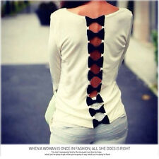 Fashion Sweet Women Lady Back Bow Casual Long Sleeve Pure Blouse T-Shrit Tops