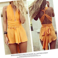 New Sexy Lady Woman Backless Bodycon Club Party Cocktail Beach Dress Shorts
