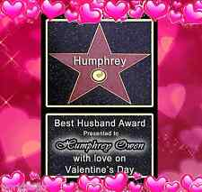 HOLLYWOOD STAR WALK OF FAME ☆ PERSONALISED VALENTINES GIFT FOR YOUR HUSBAND