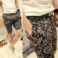 Fashion Men Summer Casual Retro Ethnic Pants Holiday Beach Shorts Jeans Trousers