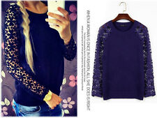 Women's Fashion Flower Lace Long Sleeve Top Blouse T' shirt Sweater S-XL