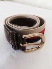 Aspinal of London Mens Canvas & Leather Belt Navy, Red and Beige