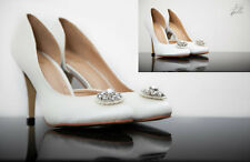 VINTAGE BRIDAL SHOES WEDDING BRIDESMAID LADIES WOMANS SATIN WITH BROACH ADELIE