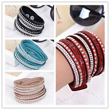 Swarovski like Crystals 2wrap Around PU Leather Adjustable Bracelet New Fashion
