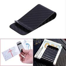 BLACK REAL CARBON FIBER MONEY CLIP BUSINESS MEN'S CARD CREDIT CARD CASH WALLET