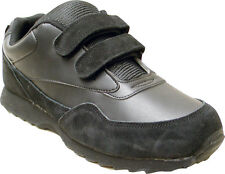 Mens Athletic Leather Tennis Shoe - Velcro, Black (Brand New)