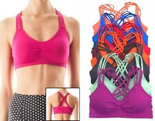 2 SET OF STRAPPY SEAMLESS CAGED BACK GYM YOGA WORKOUT  SPORTS BRA Top Bra  Pads
