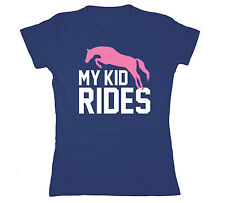 My Kid Loves To Ride Equestrian Horses Horse Sports Team Mom Novelty Womens Tee