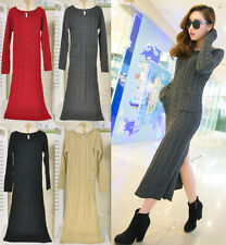 Women Round Collar Knitted Long Dress Jumper Long Sleeve Maxi Slim Sweater Dress