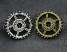 20pcs Antique Silver/Bronze Lovely Filigree Gear Charms Pendant 17.5mm