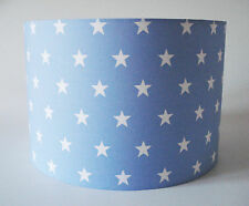 Children's White Stars on Pale Blue Fabric Light Shade Ceiling or Lamp Shade