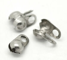 Wholesale Silver Tone Calottes End Crimps Beads Tips 8x4mm(Fit 3mm Ball Chain)
