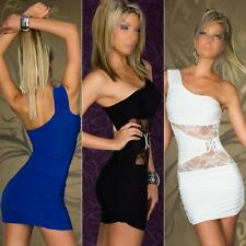 Woman's Sexy One Shoulder Lace Bodycon Night Club Bandage Package Hip Dresses