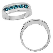 1 Carat Blue Diamond Designer Channel Mens Engagement Band Ring 14K White Gold