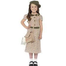 Girls Evacuee WWII World War 2 WW2 Fancy Dress Costume Book Day Outfit 27533